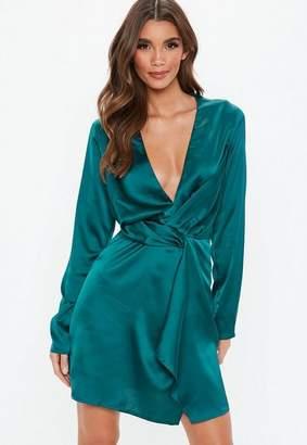 Missguided Tall Teal Twist Front Mini Dress