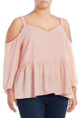 Jessica Simpson Plus Elizabeth Cold-Shoulder Cotton Top