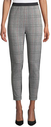 Joan Vass Plaid Blocked Ankle Pants, Plus Size