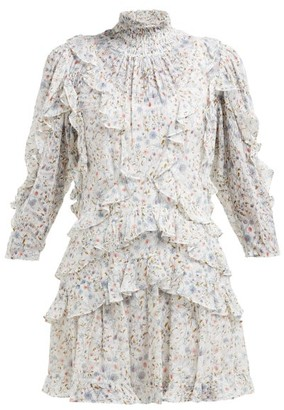 Rebecca Taylor Vivianna Floral Print Silk Blend Dress - Womens - White Print