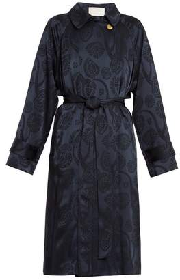 Peter Pilotto Jacquard Satin Trench Coat - Womens - Navy Print