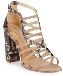 Schutz Kaye Snake-Skin Print Embossed Leather Block Heel Sandals