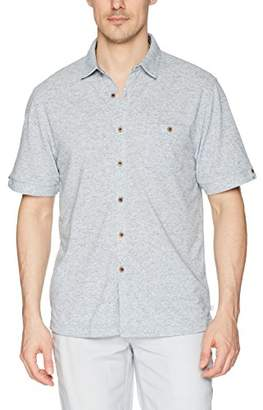 Cubavera Men's Short Sleeve Knit Button-Down Shirt with Pocket
