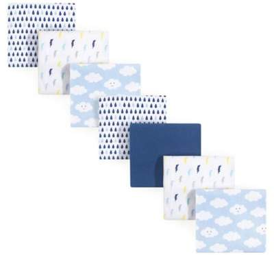 Luvable Friends 7-Pack Clouds Flannel Receiving Blankets in Blue