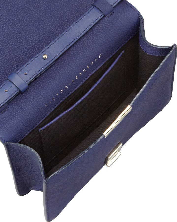 Victoria Beckham Mini Leather Crossbody Satchel Bag, Blue