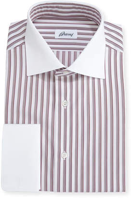 Brioni Striped Dress Shirt with Contrast Collar & Cuffs, Red
