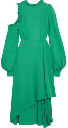 Magda Butrym Calgari Ruffled Cold-shoulder Silk-georgette Midi Dress - Jade