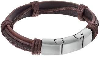 Lynx LYNXMen's Stainless Steel & Brown Leather Bracelet