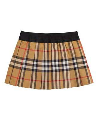Burberry Pansie Pleated Check Skirt, Size 12M-3