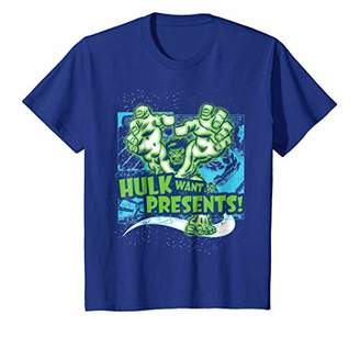 Marvel Hulk Want Presents Halftone Christmas Graphic T-Shirt