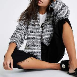 River Island Womens Black and white fringe trophy jacket