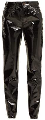 Saint Laurent High Rise Pvc Trousers - Womens - Black