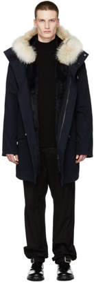 Yves Salomon Navy Cotton Parka