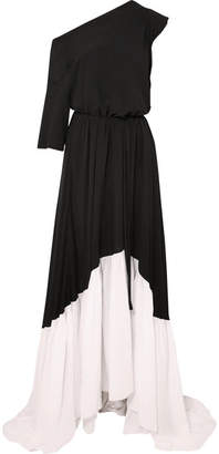 Ann Demeulemeester Asymmetric Two-tone Crepe Maxi Dress - Black
