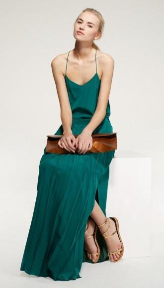 Tibi Silk Pleated Maxi Skirt