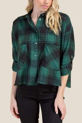Camille Cropped Fray Hem Plaid Top - Forest