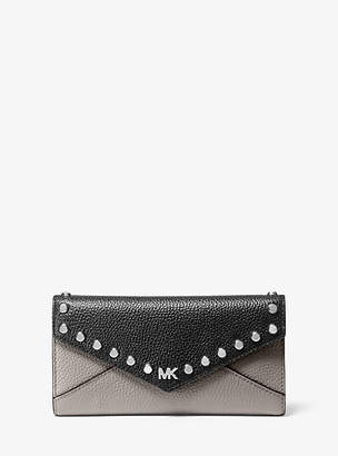 Michael Kors Large Studded Two-Tone Pebbled Leather Envelope Wallet