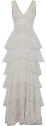 Marchesa Tiered Point D'esprit And Chantilly Lace Gown