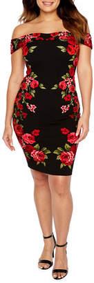 PREMIER AMOUR Premier Amour Short Sleeve Off The Shoulder Floral Sheath Dress