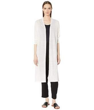 Eileen Fisher Fine Organic Linen Crepe Knit Sleeve Cardigan