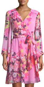 Bell-Sleeve Floral Faux-Wrap Dress