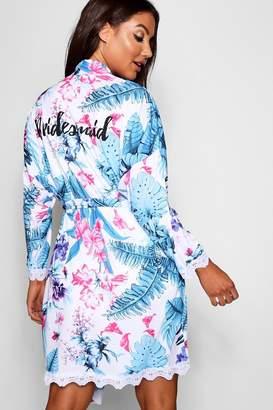 boohoo Bridesmaid Tropical Floral Robe