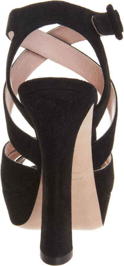 Miu Miu Criss-Cross Ankle Strap Platform Sandal