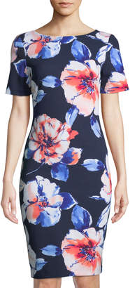 Tahari ASL Floral-Crepe Short-Sleeve Sheath Dress