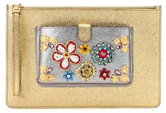 Dolce & Gabbana Exclusive to mytheresa.com – embellished metallic leather clutch