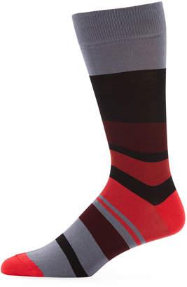Jared Lang Men's Block-Striped Cotton-Blend Socks