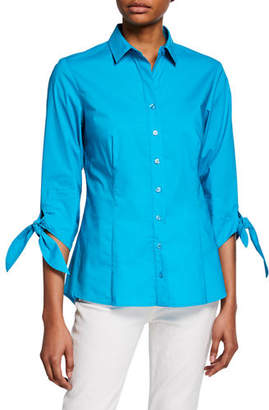 Finley Jackie Button-Front Tie-Sleeve Blouse
