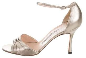 Manolo Blahnik Metallic Leather Sandals