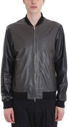 Green & Black Low Brand Green/black Leather Bomber Jacket