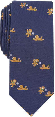 Bar III Men's Gingerbread Man Game Slim Tie