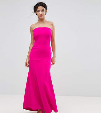 John Zack Petite Bandeau Fishtail Maxi Dress