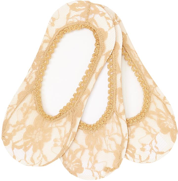 Nude Lace Three-Pair Liner Socks Set
