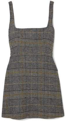 ALEXACHUNG Cutout Checked Woven Mini Dress