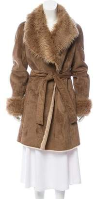 Calvin Klein Collection Faux Fur Knee-Length Coat