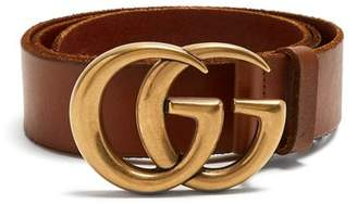 Gucci Gg Logo 4cm Leather Belt - Womens - Tan