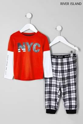 Next Boys River Island NYC Logo And Check Pyjama Set