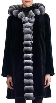 Gorski Semi-Sheared Hooded Mink Fur Stroller Coat with Chinchilla Trim