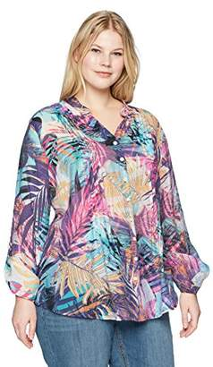 Ruby Rd. Women's Plus-Size Printed Light Weight Gauze Button-Front Top