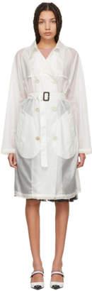 Prada White Nylon Voile Double-Breasted Trench Coat