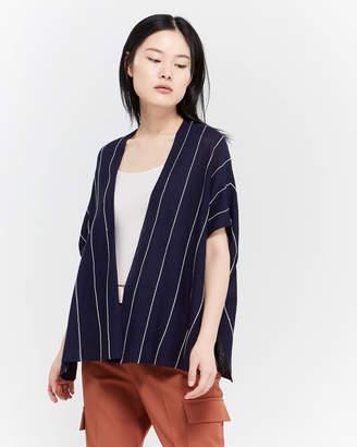 August Silk Navy Striped Short Sleeve Open Cardigan