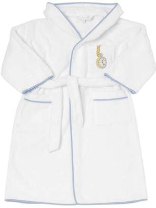 Clock Embroidered Terrycloth Bathrobe