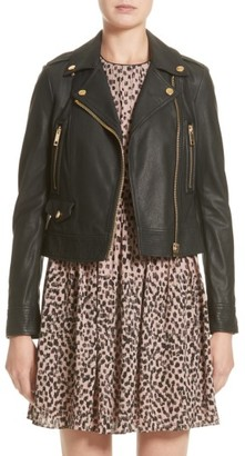 Women's Burberry Patternsby Lambskin Leather Moto Jacket $1,995 thestylecure.com