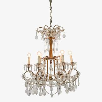 ABC Home Vintage Brass & Crystal Chandelier