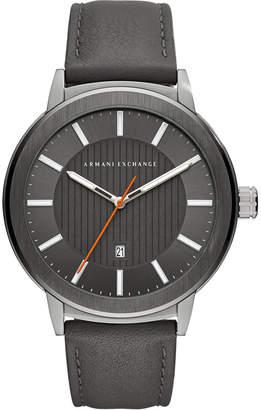 Armani Exchange Men Maddox Gray Leather Strap Watch 46mm