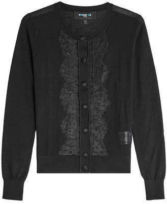 Paule Ka Lace-Trimmed Cardigan with Wool and Silk