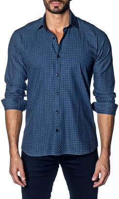 Jared Lang Windowpane-Plaid Sport Shirt